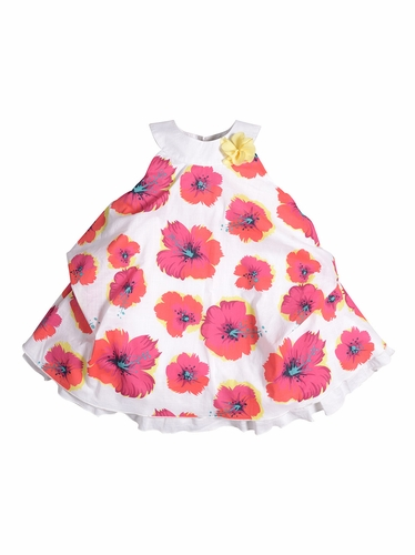Petit Lem Baby Marmelade Fuchsia Floral Tiered Dress