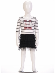 FLASH SALE - Petit Lem Bows & Arrows Striped 3/4 Sleeve Dress