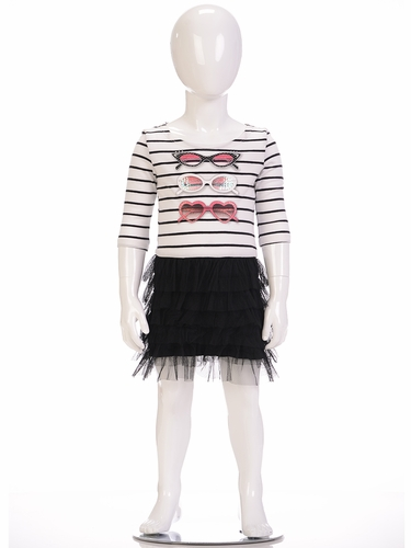 Petit Lem Bows & Arrows Striped 3/4 Sleeve Dress