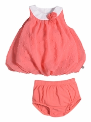 CLEARANCE - Petit Lem Fluffy Flamingo Coral Dot Dress Set