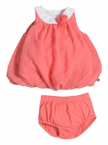 Petit Lem Fluffy Flamingo Coral Dot Dress Set