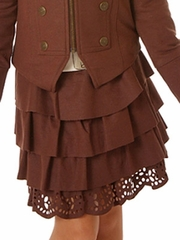 "Petit Lem ""From Russia with Love"" Chocolare Ruffle Skirt"