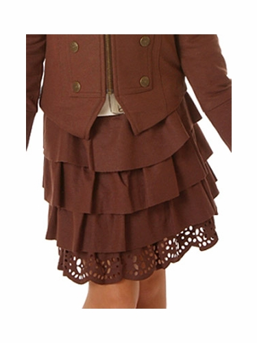 "Petit Lem ""From Russia with Love"" Chocolate Ruffle Skirt"