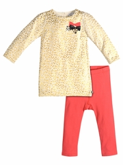 Petit Lem Gold & Coral Cheetah Dress & Leggings