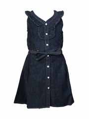 "Petit Lem ""In the Wind"" Dark Blue Denim Dress"