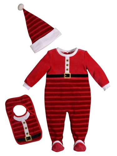 Petit Lem Infant's Santa Sleeper Suit Set