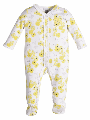 Petit Lem Navy Chic White w/ Yellow Floral Footsie