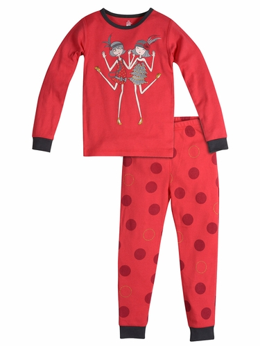 Petit Lem Red Charleston Dots Flapper 2 PC Pajama