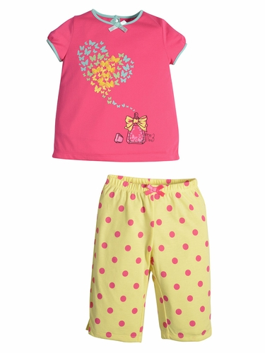 Petit Lem Sleep Coral & Yellow Perfume Top & Pant Set