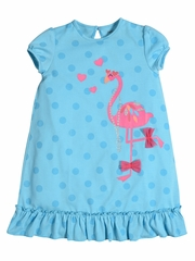 Petit Lem Sleep Flamingo Love Turquoise Pajama Dress