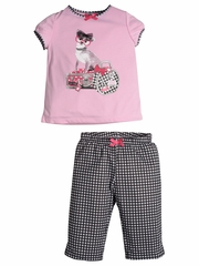 Petit Lem Sleep Glamour Traveling Pink & Black Pajama Set