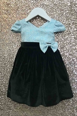 Petite Adele 212BC Blue Baby Velvet Dress w/ Sleeves