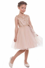 Petite Adele 268 Gold Heavily Sequin Dress w/ Tulle Skirt & Charmeuse Bow