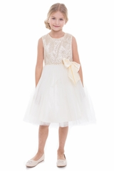 Petite Adele 268 Ivory Heavily Sequin Dress w/ Tulle Skirt & Charmeuse Bow