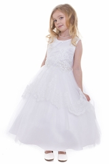 Petite Adele 280 White 3D Beaded Embroidery Bodice Dress w/ Lace