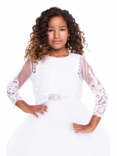 Petite Adele B705 White Beaded Lace Long Sleeve Bolero