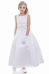 Petite Adele C204 White A-Line Satin Dress w/ Lace