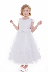 Petite Adele C304 White Lace & Organza Dress