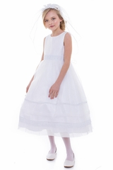 Petite Adele C305 White Striped Bodice w/ Embroidered Skirt & Peal Waist