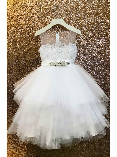 Petite Adele C306 White Multiple Tiered Skirt w/ Beaded  Satin Top