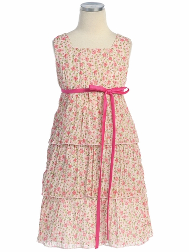 Pink 3-Tier Floral Chiffon Dress