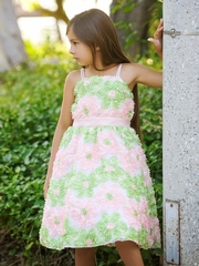 Pink/ Apple Green  Daisy Ribbon Novelty Spaghetti Strap Dress