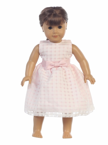 "Pink Basket Burnout Organza 18"" Doll Dress"