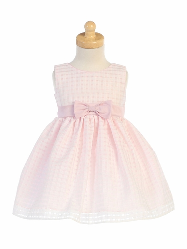 Pink Basket Burnout Organza Girls Dress
