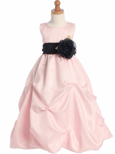 Pink Blossom Sleeveless Shantung Organza Dress w/Detachable Sash & Flower