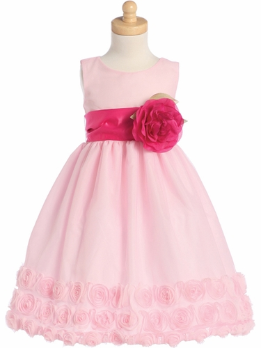 Pink Blossom Sleeveless Tulle Dress w/ Floral Ribbon Edge & Detachable Sash & Flower
