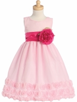 Blossom Pink Tulle Dress w/ Floral Ribbon Edge & Detachable Sash & Flower