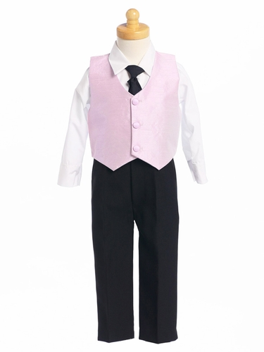 Pink Boys Poly Silk Vest & Black Pant Set