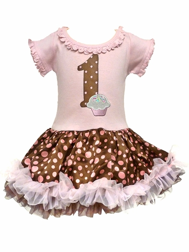 Pink & Brown Cupcake Birthday Tutu