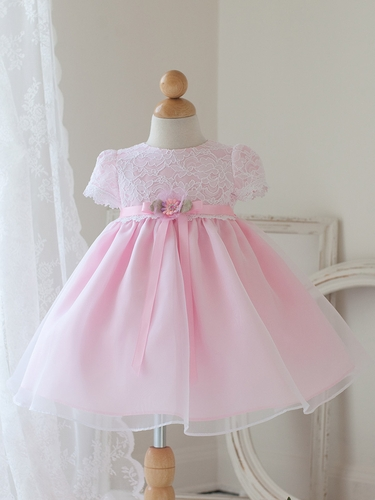 Pink Cap Sleeve Dress w/ Lace Bodice