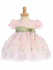 Pink Cap Sleeved Organza Dress w/ Polka Dot Embroidery & Sage Sash
