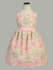 Pink/ Champagne Daisy Ribbon Novelty Spaghetti Strap Dress