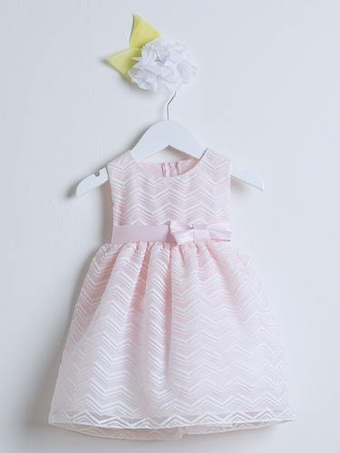Pink Chevron Organza Dress