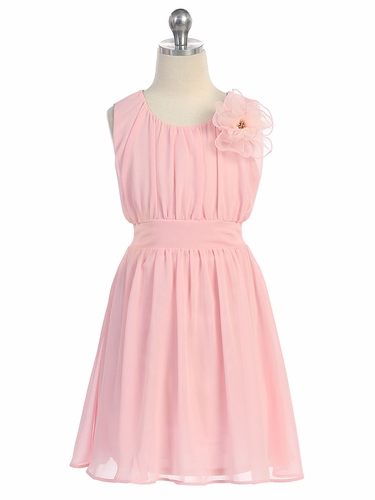 Pink Chiffon Pleated Dress