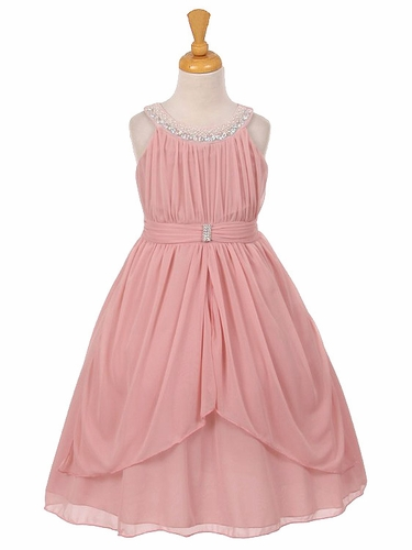 Pink Chiffon Pleated Jeweled Neckline Dress