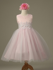 Pink Cinderella Tulle Flower Girl Dress