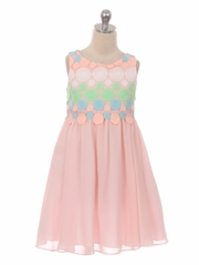 Pink Circle Embroidered Chiffon Dress