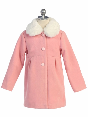 Pink Coat w/ Fur Collar