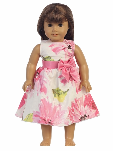 "Pink Cotton Floral Print 18"" Doll Dress"
