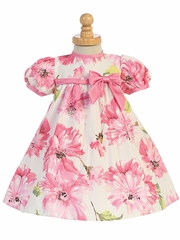 Pink Cotton Floral Print Baby Dress w/ Cap Sleeve