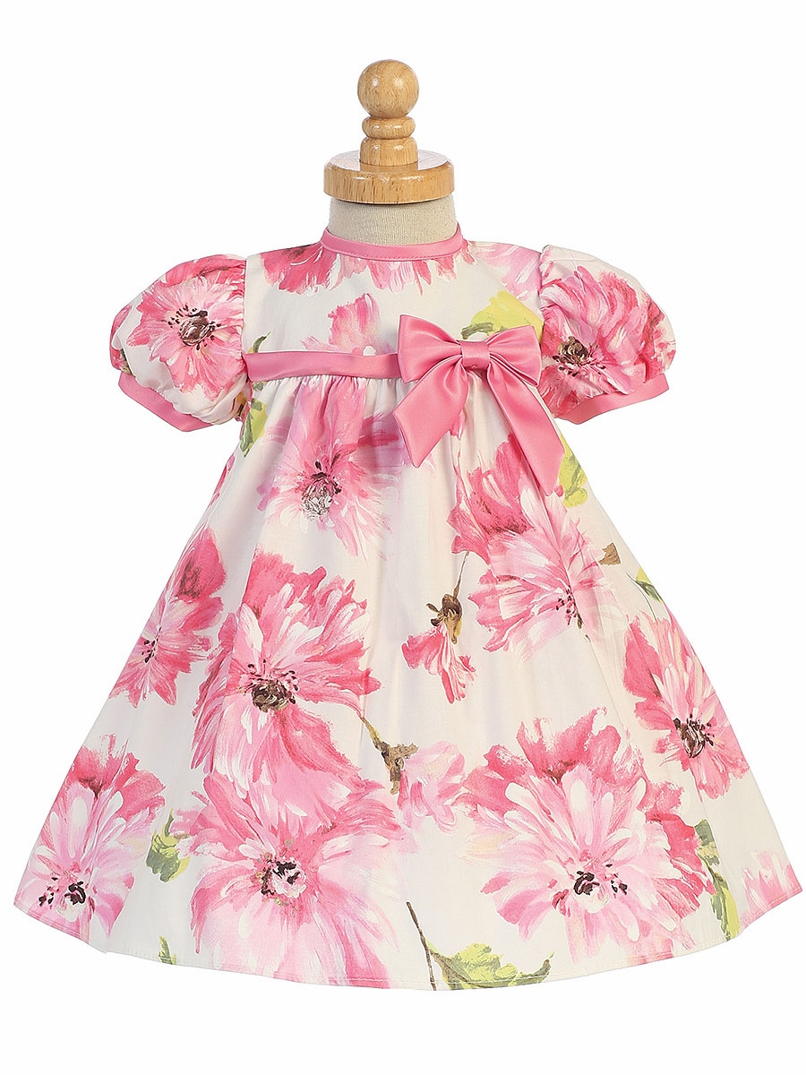 2430558ba74b Pink Cotton Floral Print Baby Dress w  Cap Sleeve