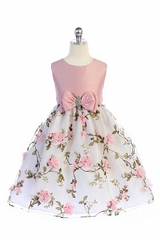 Crayon Kids 365 Pink Floral Skirt w/ Bow & Brooch Dress