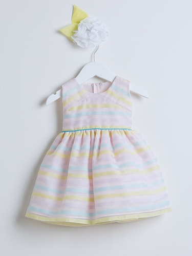 Pink Directional Stripe Organza Dress