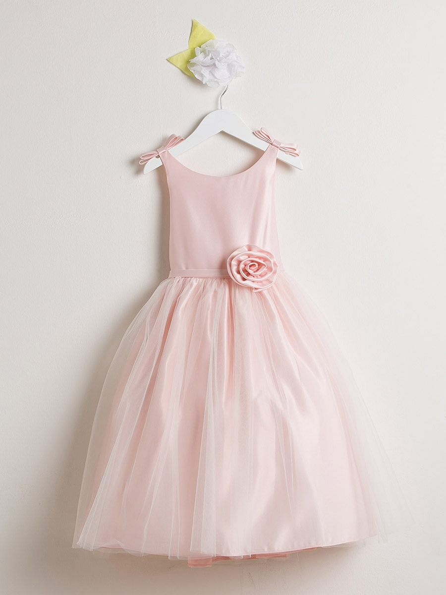 Pink flower girl dresses pinkprincess pink double bow satin tulle dress dhlflorist Gallery