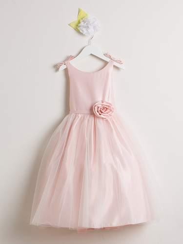 Pink Double Bow Satin & Tulle Dress