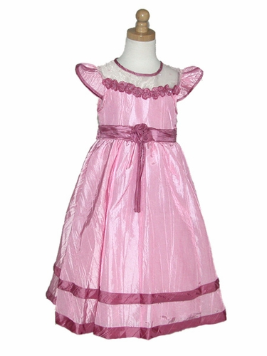 Pink Dress/Dusty Rose Rose Taffeta Dress w/Cap Sleeves